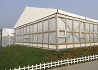 Clear Span Hard Glass Wall Outdoor Party Tent With Wooden Flooring And Drapery
