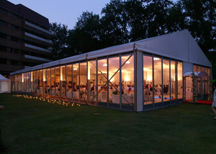 Clear Canvas Marquee Wedding Party Tent With Sidewalls White Color Rooftop