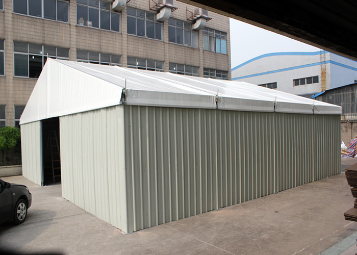 Solid Structure Steel Walls Industrial Warehouse Tent , Shutter Door Temporary Fabric Structures