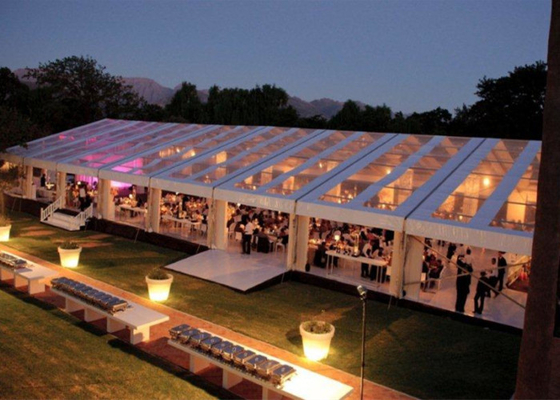 China 12x30m 300 Seaters Transparent Marquee Wedding Tent Clear Roof Fire Proof factory
