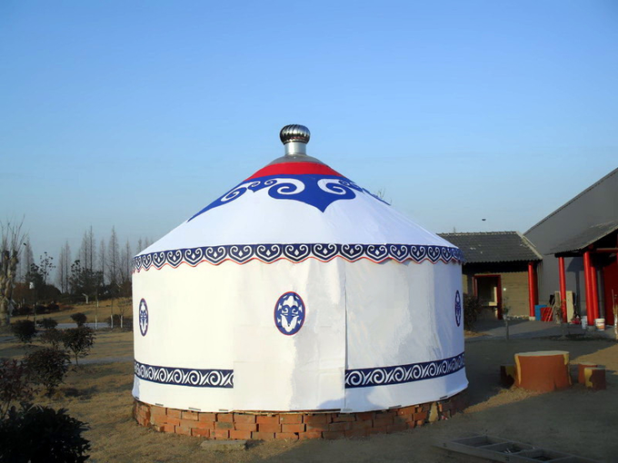 Long Life Span Modern Style Mongolian Canvas Yurt Tent , Mongolian Nomad Tent